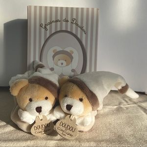 Doudou et compagnie baby bear slippers - new